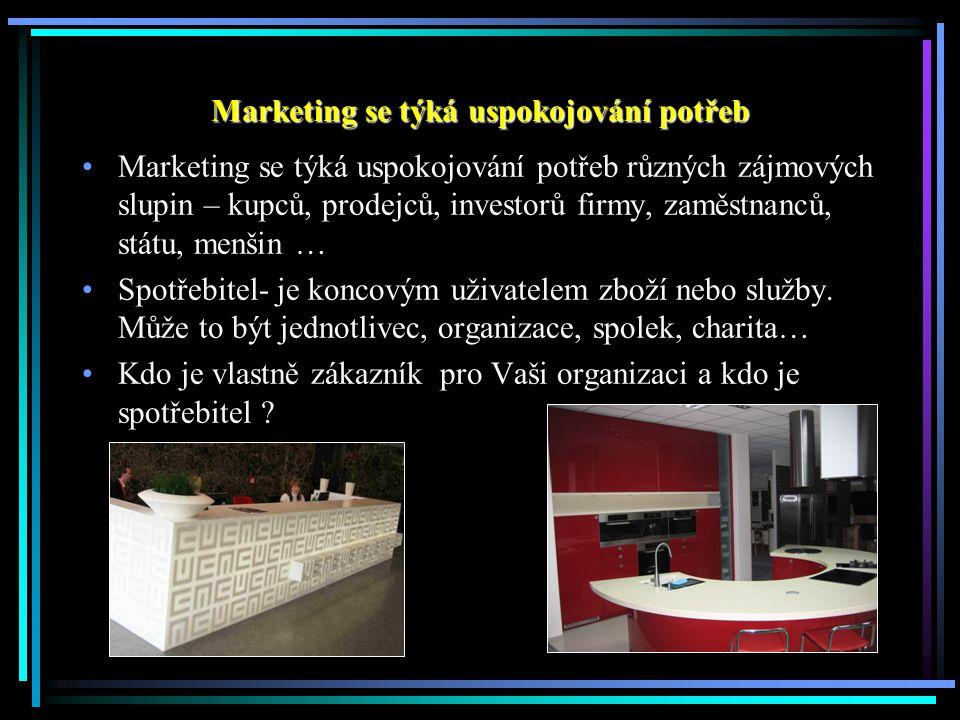 Marketingová koncepce Zaměření managementu na identifikaci a uspokojení potřeb zákazníků jako prostředek zajištění dlouhodobé prosperity firmy.
