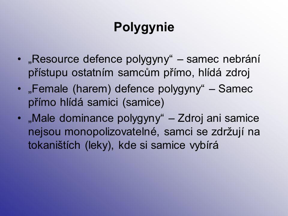 """Polygynie """"Resource defence polygyny"""" – samec nebrání přístupu ostatním samcům přímo, hlídá zdroj """"Female (harem) defence polygyny"""" – Samec přímo hlíd"""