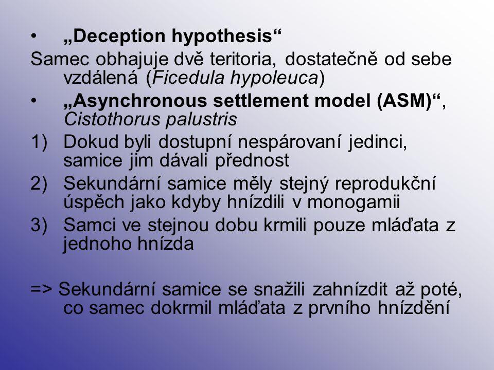 """""""Deception hypothesis"""" Samec obhajuje dvě teritoria, dostatečně od sebe vzdálená (Ficedula hypoleuca) """"Asynchronous settlement model (ASM)"""", Cistothor"""