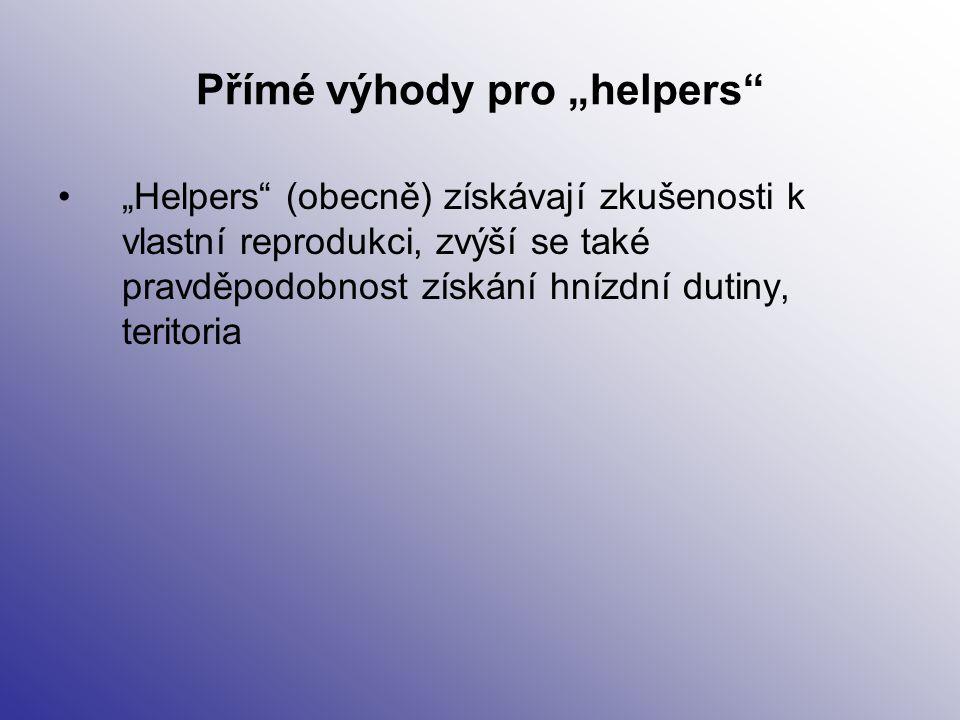"""Přímé výhody pro """"helpers"""" """"Helpers"""" (obecně) získávají zkušenosti k vlastní reprodukci, zvýší se také pravděpodobnost získání hnízdní dutiny, teritor"""