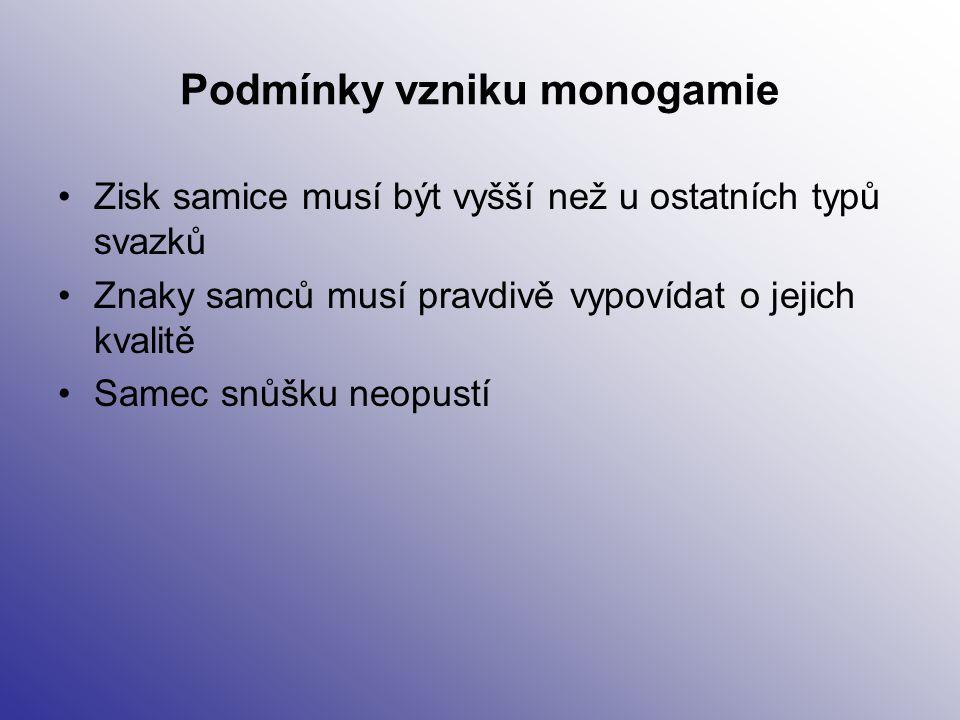 Podmínky vzniku monogamie Zisk samice musí být vyšší než u ostatních typů svazků Znaky samců musí pravdivě vypovídat o jejich kvalitě Samec snůšku neo