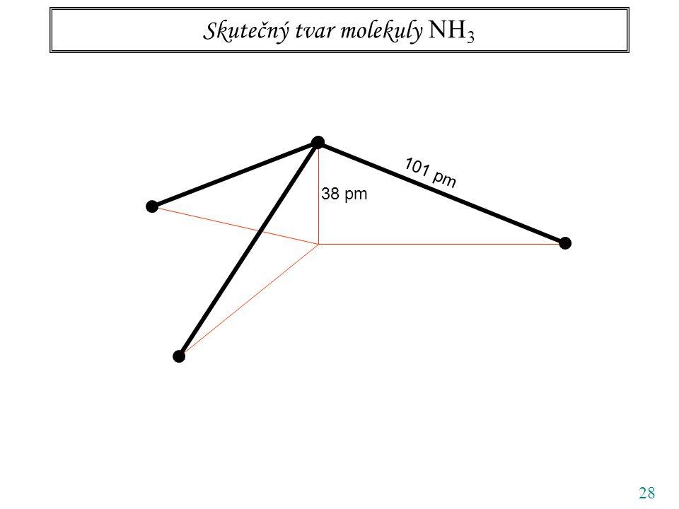 28 Skutečný tvar molekuly NH 3 38 pm 101 pm