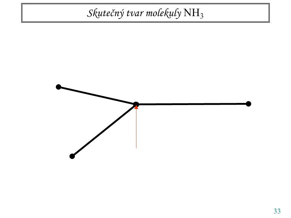 33 Skutečný tvar molekuly NH 3