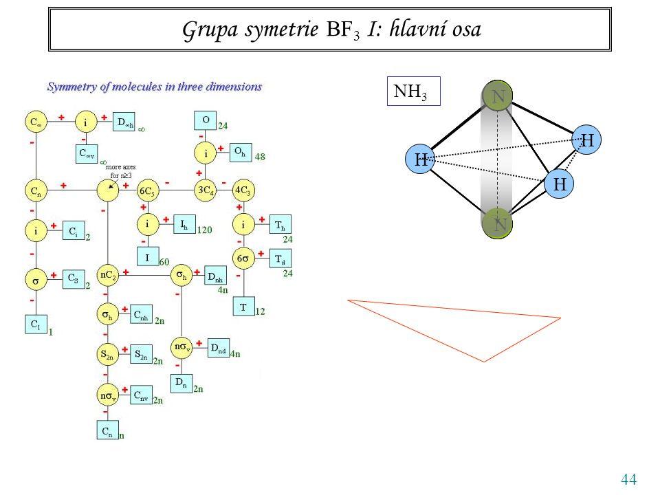 44 Grupa symetrie BF 3 I: hlavní osa N N NH 3 NN N NNNN N H H H