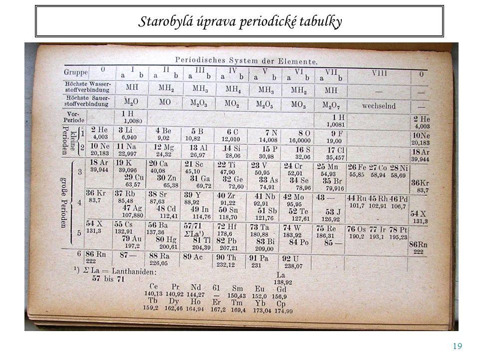 19 Starobylá úprava periodické tabulky