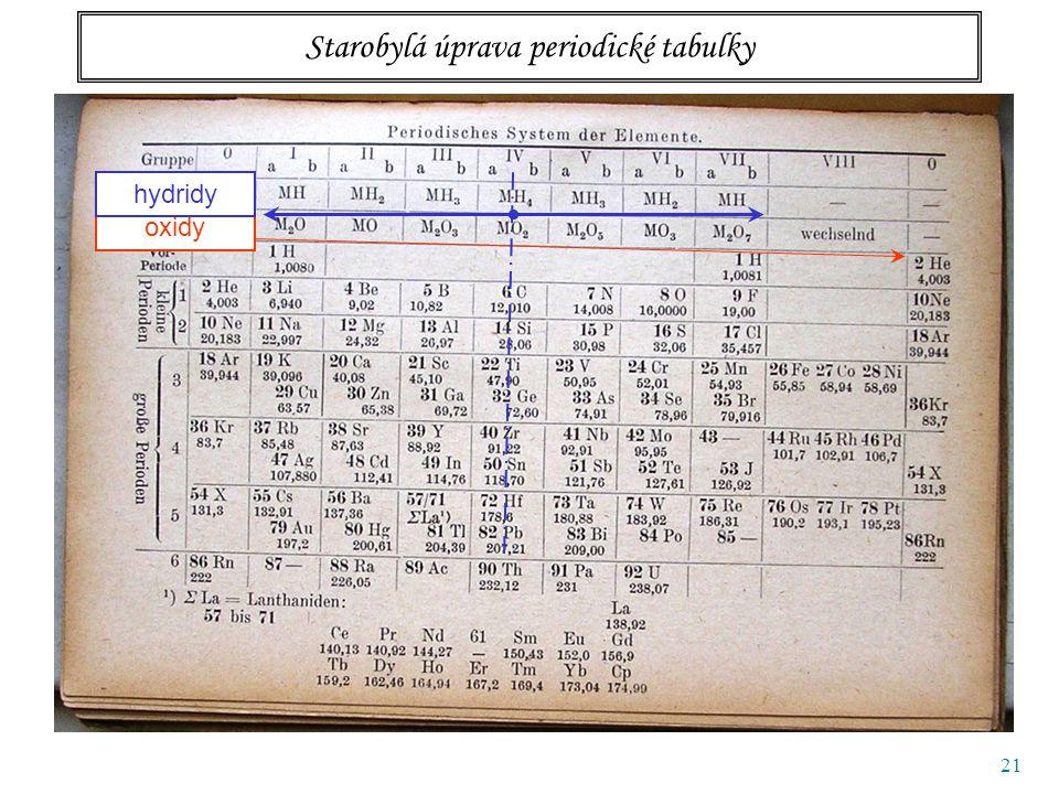 21 Starobylá úprava periodické tabulky oxidy hydridy