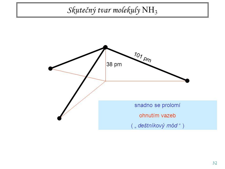 """32 Skutečný tvar molekuly NH 3 38 pm 101 pm snadno se prolomí ohnutím vazeb ( """" deštníkový mód )"""