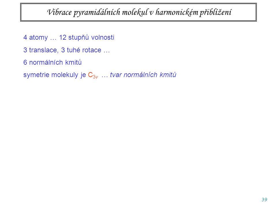 39 Vibrace pyramidálních molekul v harmonickém přiblížení 4 atomy … 12 stupňů volnosti 3 translace, 3 tuhé rotace … 6 normálních kmitů symetrie molekuly je C 3v … tvar normálních kmitů