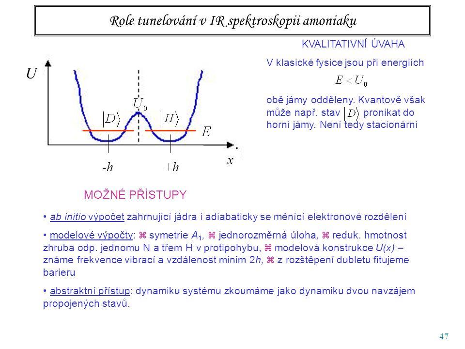 47 Role tunelování v IR spektroskopii amoniaku KVALITATIVNÍ ÚVAHA V klasické fysice jsou při energiích obě jámy odděleny.