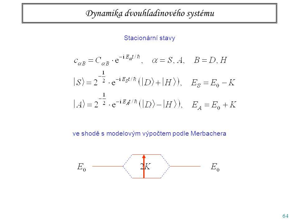 64 Dynamika dvouhladinového systému Stacionární stavy ´ ve shodě s modelovým výpočtem podle Merbachera