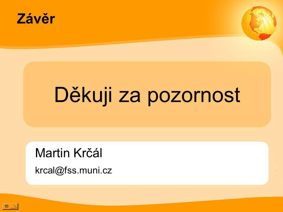 Závěr Martin Krčál krcal@fss.muni.cz Děkuji za pozornost