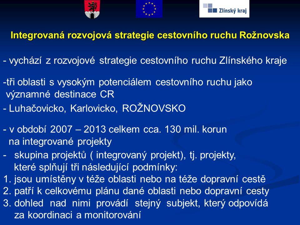 - vychází z rozvojové strategie cestovního ruchu Zlínského kraje -tři oblasti s vysokým potenciálem cestovního ruchu jako významné destinace CR - Luha