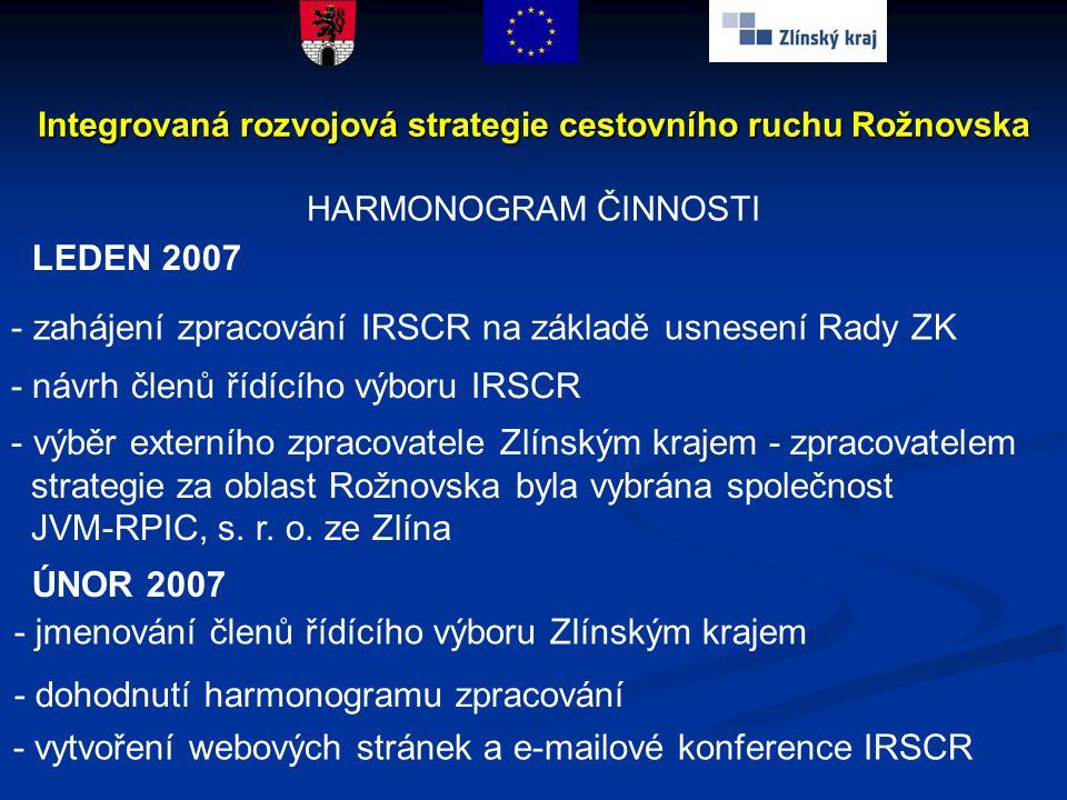 HARMONOGRAM ČINNOSTI Integrovaná rozvojová strategie cestovního ruchu Rožnovska LEDEN 2007 - zahájení zpracování IRSCR na základě usnesení Rady ZK - n