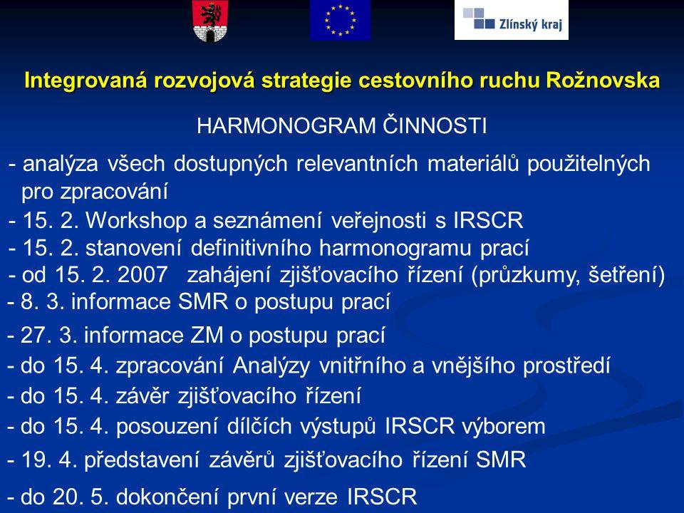 Integrovaná rozvojová strategie cestovního ruchu Rožnovska HARMONOGRAM ČINNOSTI - analýza všech dostupných relevantních materiálů použitelných pro zpr