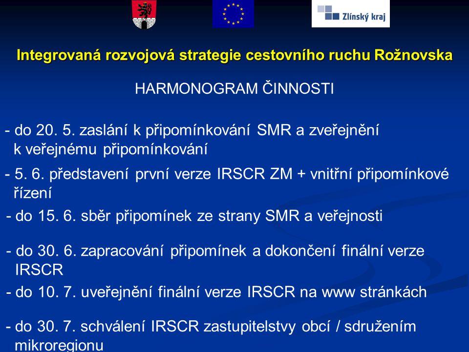 - do 30. 7. schválení IRSCR zastupitelstvy obcí / sdružením mikroregionu Integrovaná rozvojová strategie cestovního ruchu Rožnovska HARMONOGRAM ČINNOS