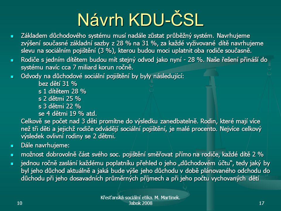 Návrh KDU-ČSL Základem důchodového systému musí nadále zůstat průběžný systém. Navrhujeme zvýšení současné základní sazby z 28 % na 31 %, za každé vyž