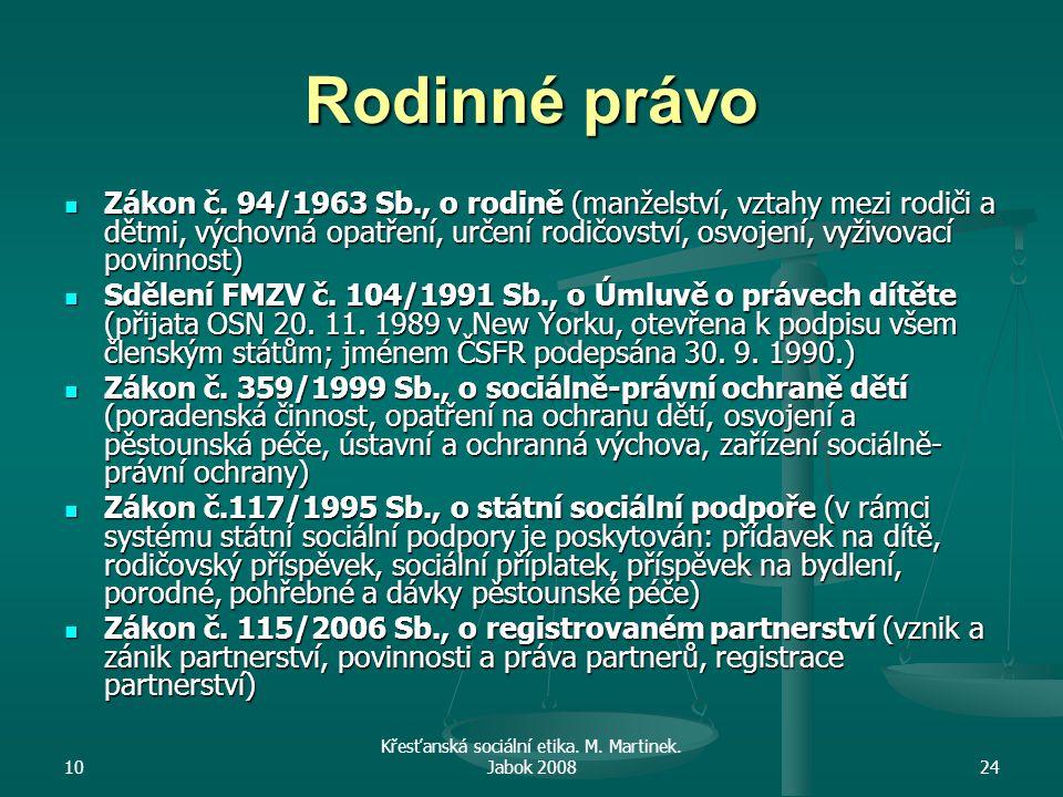 10 Křesťanská sociální etika. M. Martinek. Jabok 200824 Rodinné právo Zákon č.