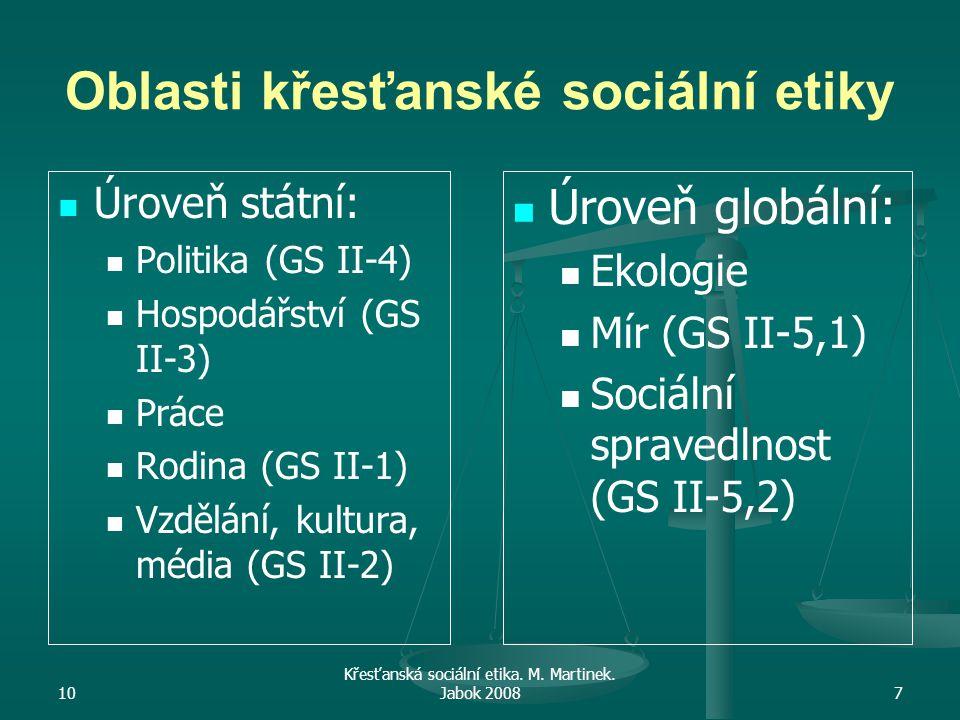 10 Křesťanská sociální etika. M. Martinek. Jabok 20087 Oblasti křesťanské sociální etiky Úroveň státní: Politika (GS II-4) Hospodářství (GS II-3) Prác