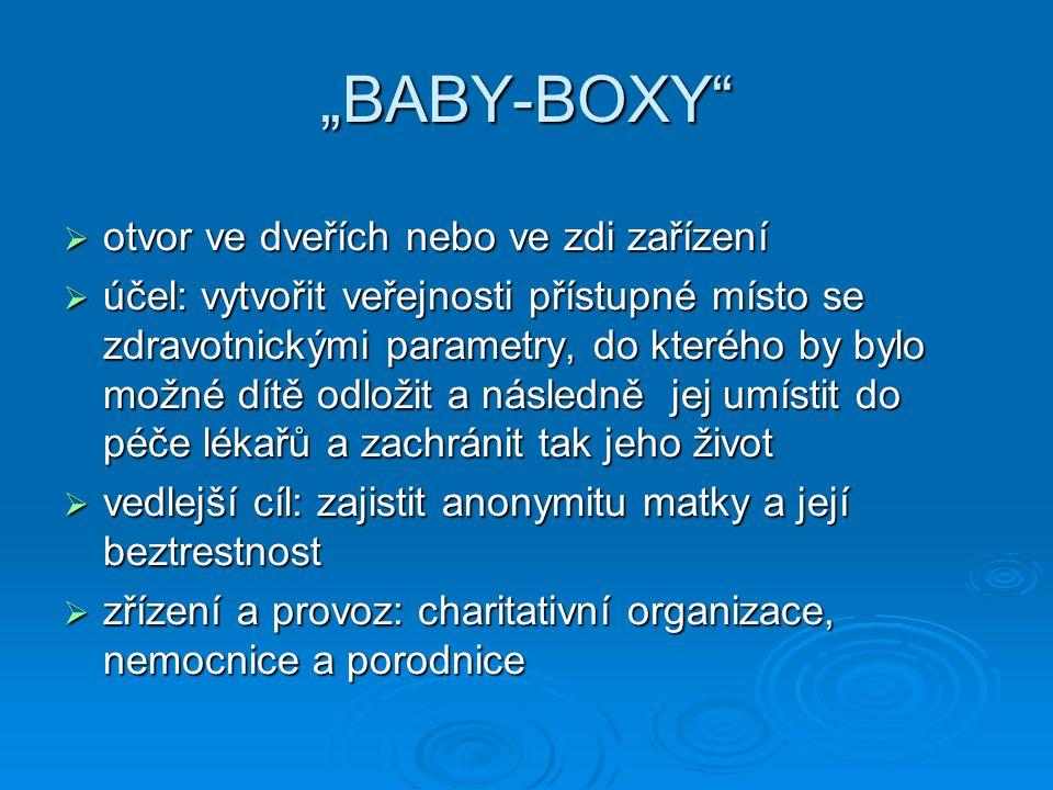 """""""BABY-BOXY""""  otvor ve dveřích nebo ve zdi zařízení  účel: vytvořit veřejnosti přístupné místo se zdravotnickými parametry, do kterého by bylo možné"""