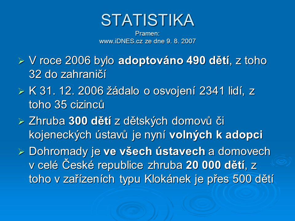 STATISTIKA Pramen: www.iDNES.cz ze dne 9. 8. 2007  V roce 2006 bylo adoptováno 490 dětí, z toho 32 do zahraničí  K 31. 12. 2006 žádalo o osvojení 23