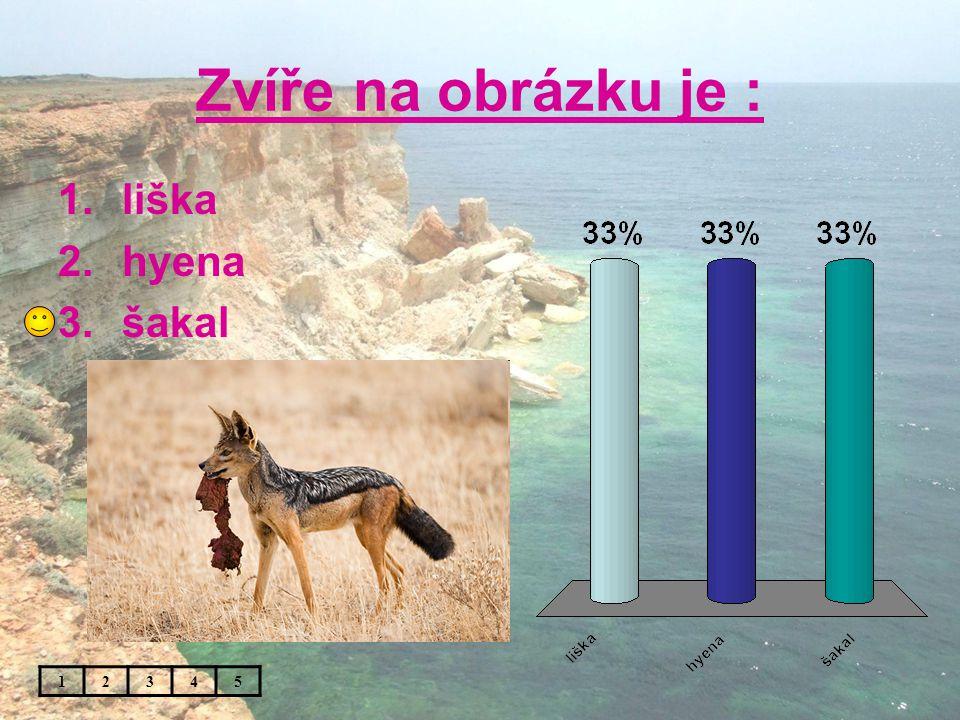 Zvíře na obrázku je : 1.liška 2.hyena 3.šakal 12345