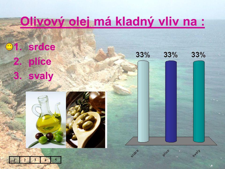 Olivový olej má kladný vliv na : 1.srdce 2.plíce 3.svaly 12345