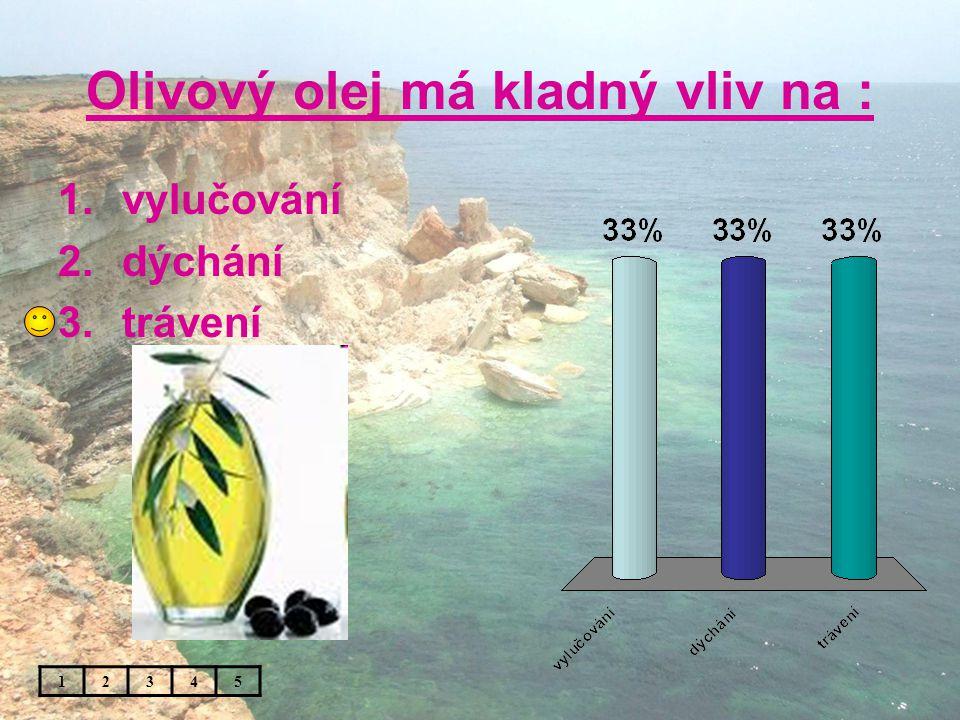 Olivový olej má kladný vliv na : 1.vylučování 2.dýchání 3.trávení 12345