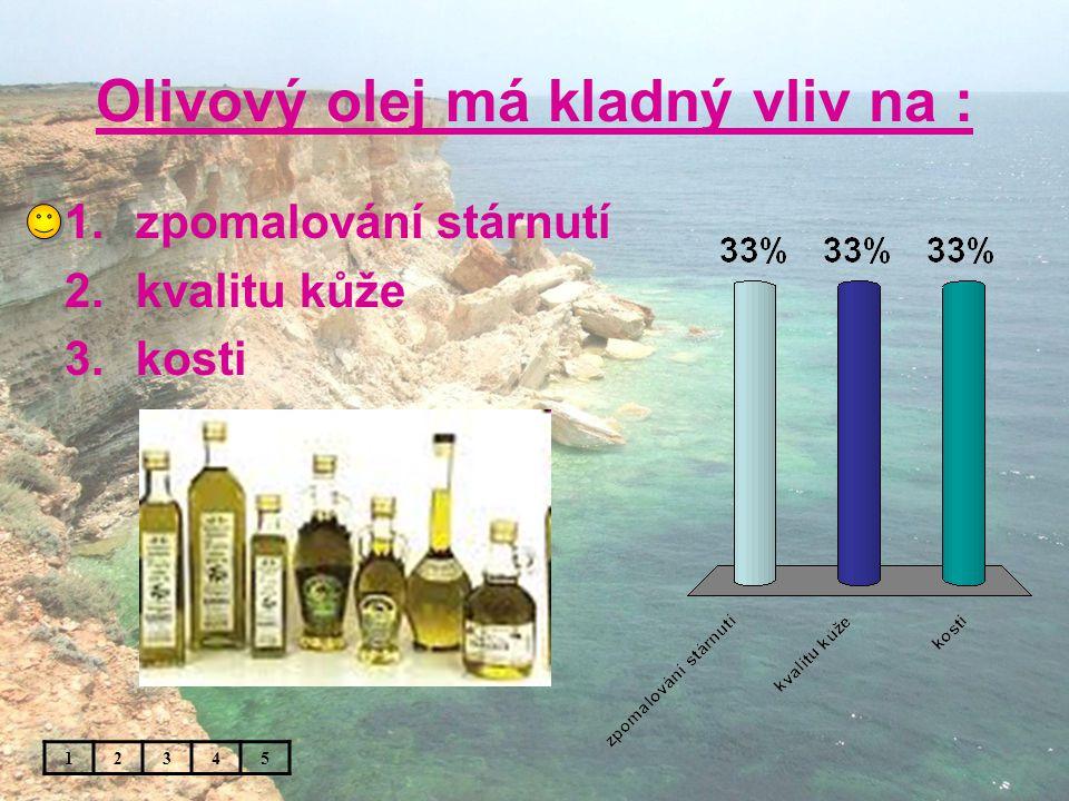 Olivový olej má kladný vliv na : 1.zpomalování stárnutí 2.kvalitu kůže 3.kosti 12345