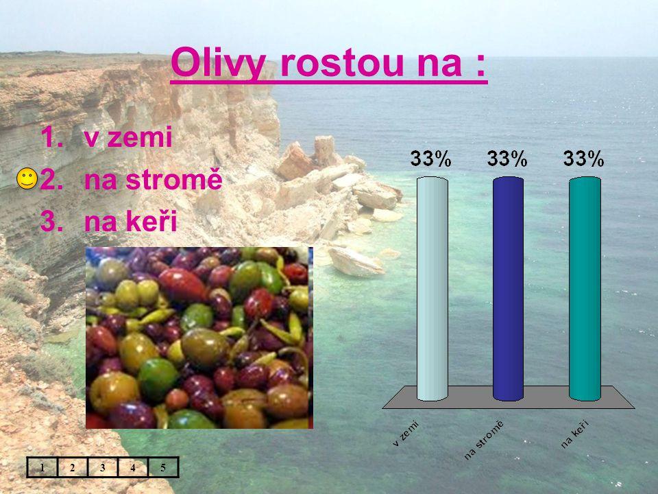 Olivy rostou na : 12345 1.v zemi 2.na stromě 3.na keři