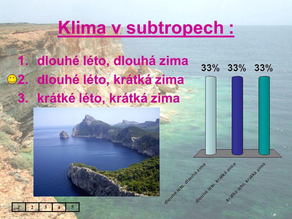 Klima v subtropech : 1.dlouhé léto, dlouhá zima 2.dlouhé léto, krátká zima 3.krátké léto, krátká zima 12345
