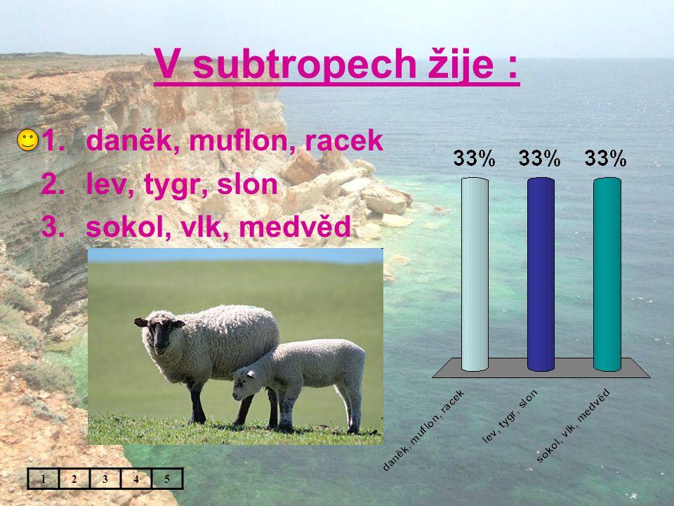 V subtropech žije : 1.daněk, muflon, racek 2.lev, tygr, slon 3.sokol, vlk, medvěd 12345