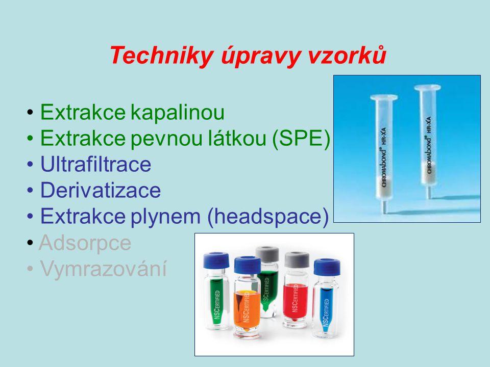 Techniky úpravy vzorků Extrakce kapalinou Extrakce pevnou látkou (SPE) Ultrafiltrace Derivatizace Extrakce plynem (headspace) Adsorpce Vymrazování