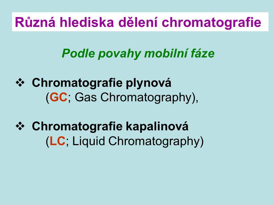 Podle povahy mobilní fáze  Chromatografie plynová (GC; Gas Chromatography),  Chromatografie kapalinová (LC; Liquid Chromatography) Různá hlediska dě