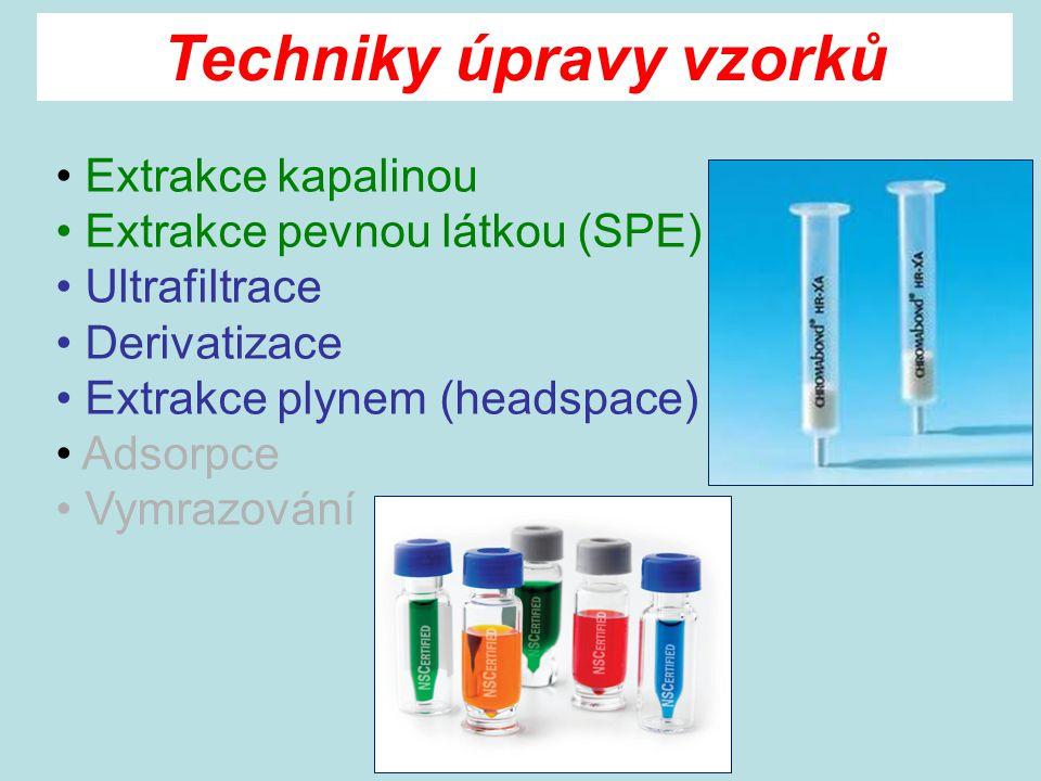 Extrakce kapalinou Extrakce pevnou látkou (SPE) Ultrafiltrace Derivatizace Extrakce plynem (headspace) Adsorpce Vymrazování Techniky úpravy vzorků
