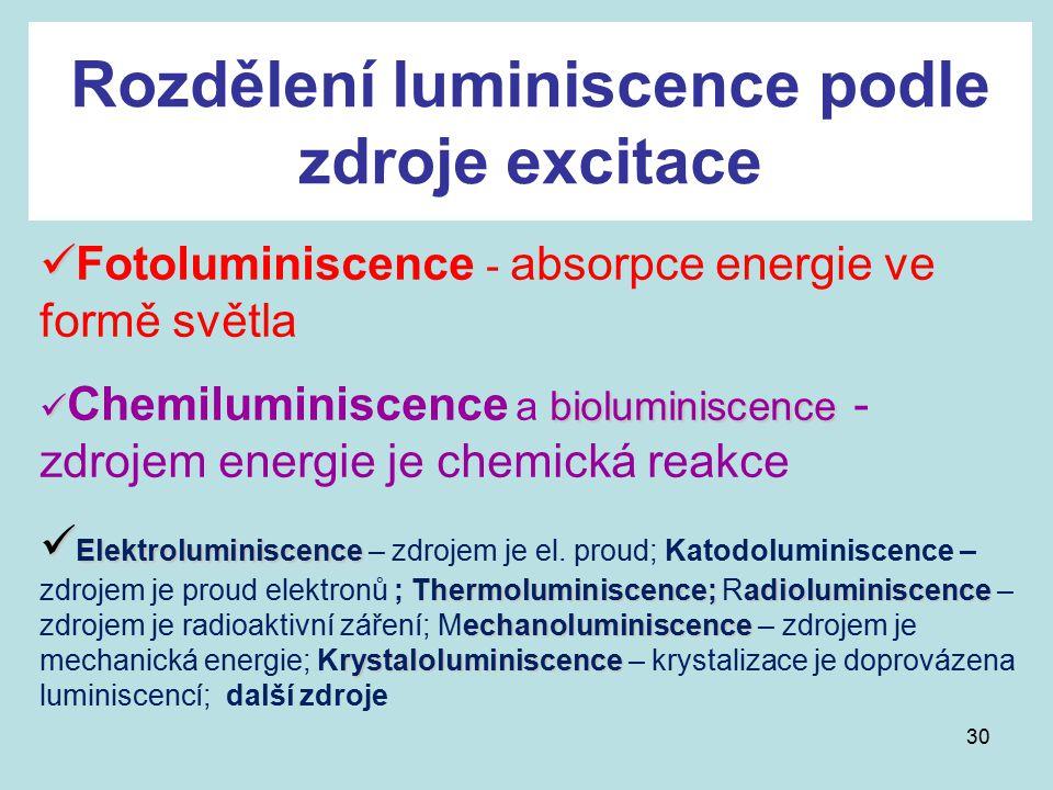 30 Rozdělení luminiscence podle zdroje excitace Fotoluminiscence - absorpce energie ve formě světla bioluminiscence Chemiluminiscence a bioluminiscenc