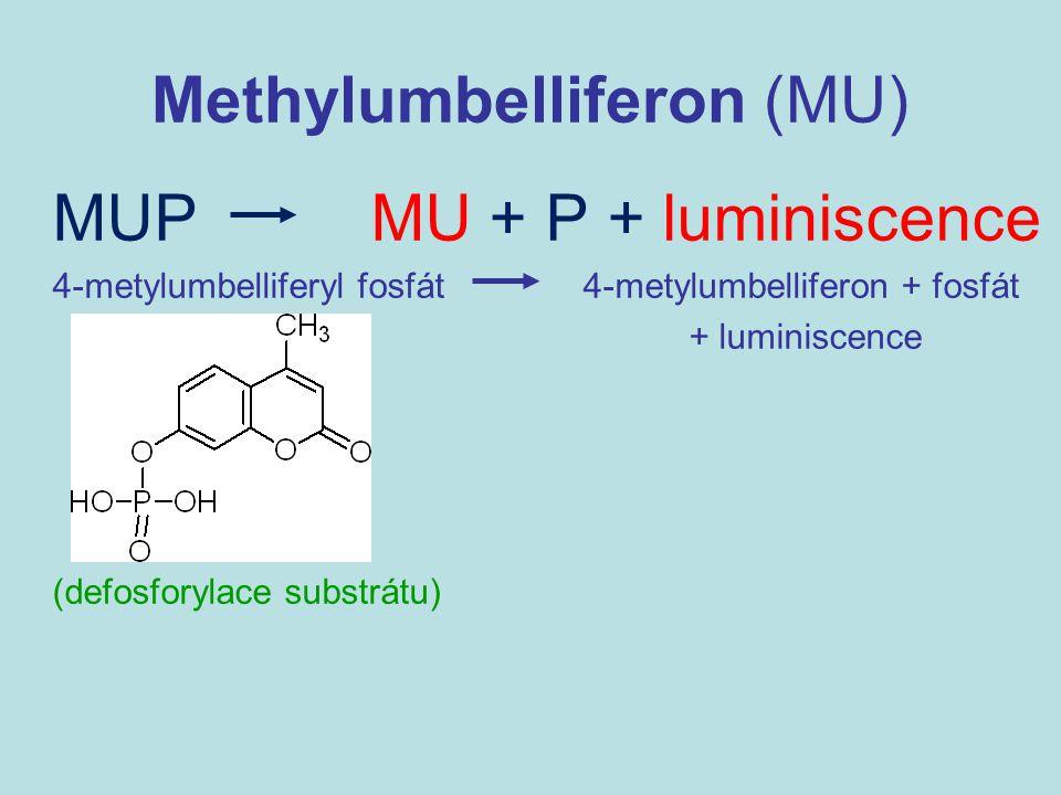 Methylumbelliferon (MU) MUP MU + P + luminiscence 4-metylumbelliferyl fosfát4-metylumbelliferon + fosfát + luminiscence (defosforylace substrátu)