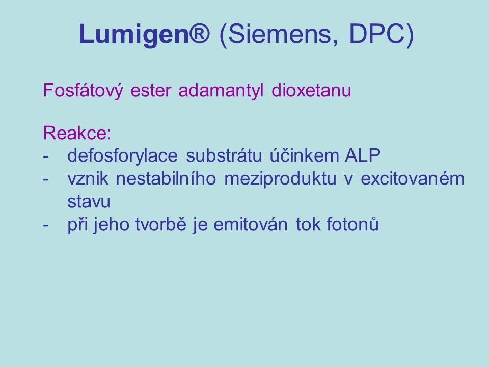 Lumigen® (Siemens, DPC) Fosfátový ester adamantyl dioxetanu Reakce: - defosforylace substrátu účinkem ALP - vznik nestabilního meziproduktu v excitova
