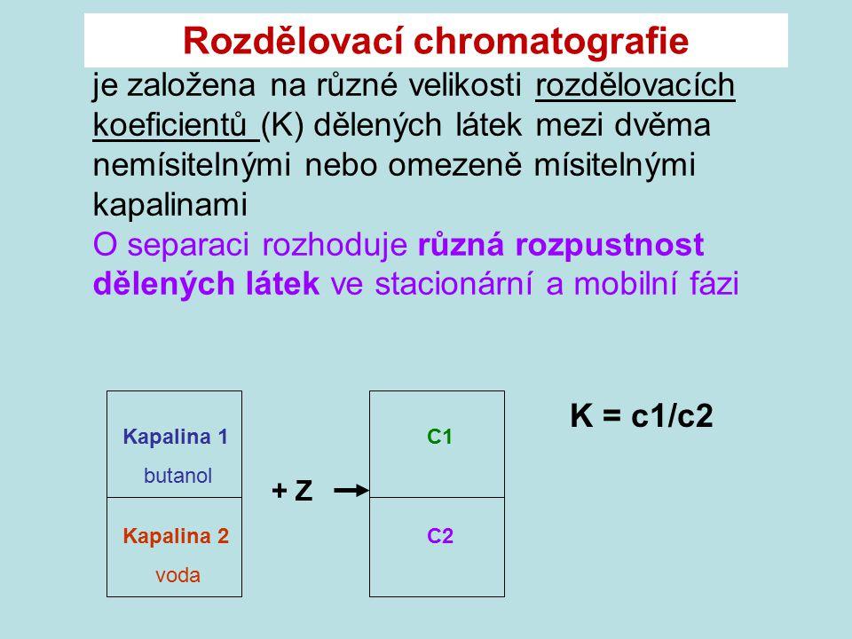 je založena na různé velikosti rozdělovacích koeficientů (K) dělených látek mezi dvěma nemísitelnými nebo omezeně mísitelnými kapalinami O separaci ro