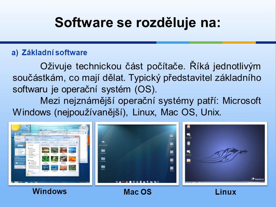 Software se rozděluje na: b)Aplikační software Je programové vybavení, které je navrženo a vytvořeno pro řešení nějakého konkrétního problému.
