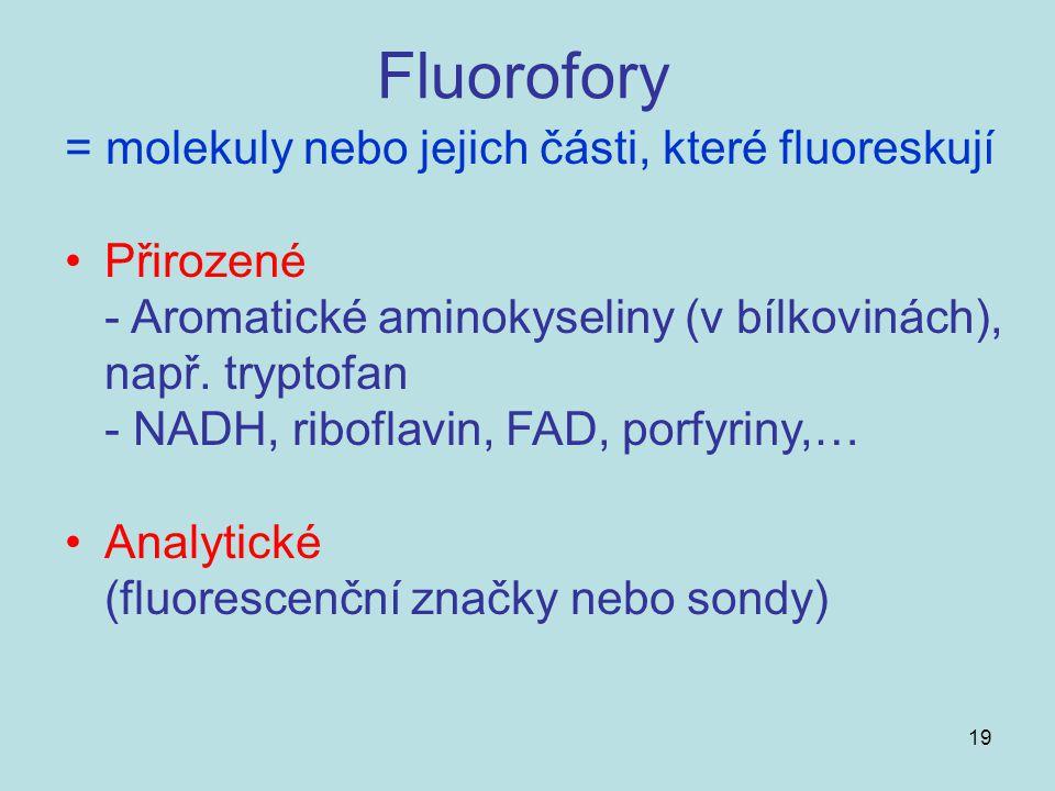 19 Fluorofory = molekuly nebo jejich části, které fluoreskují Přirozené - Aromatické aminokyseliny (v bílkovinách), např. tryptofan - NADH, riboflavin