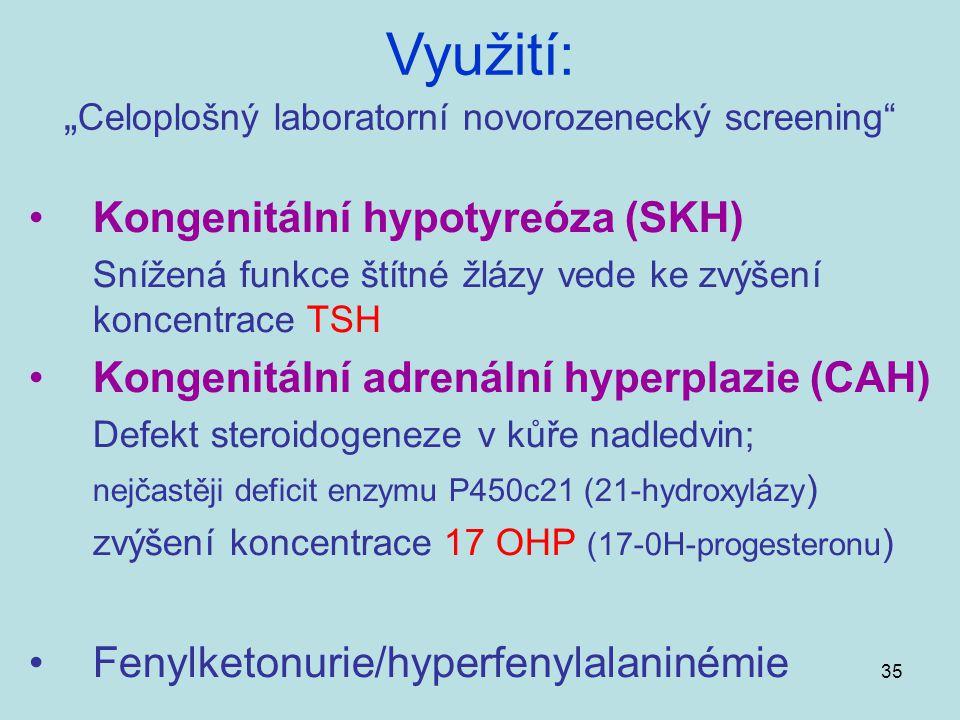 35 Kongenitální hypotyreóza (SKH) Snížená funkce štítné žlázy vede ke zvýšení koncentrace TSH Kongenitální adrenální hyperplazie (CAH) Defekt steroido
