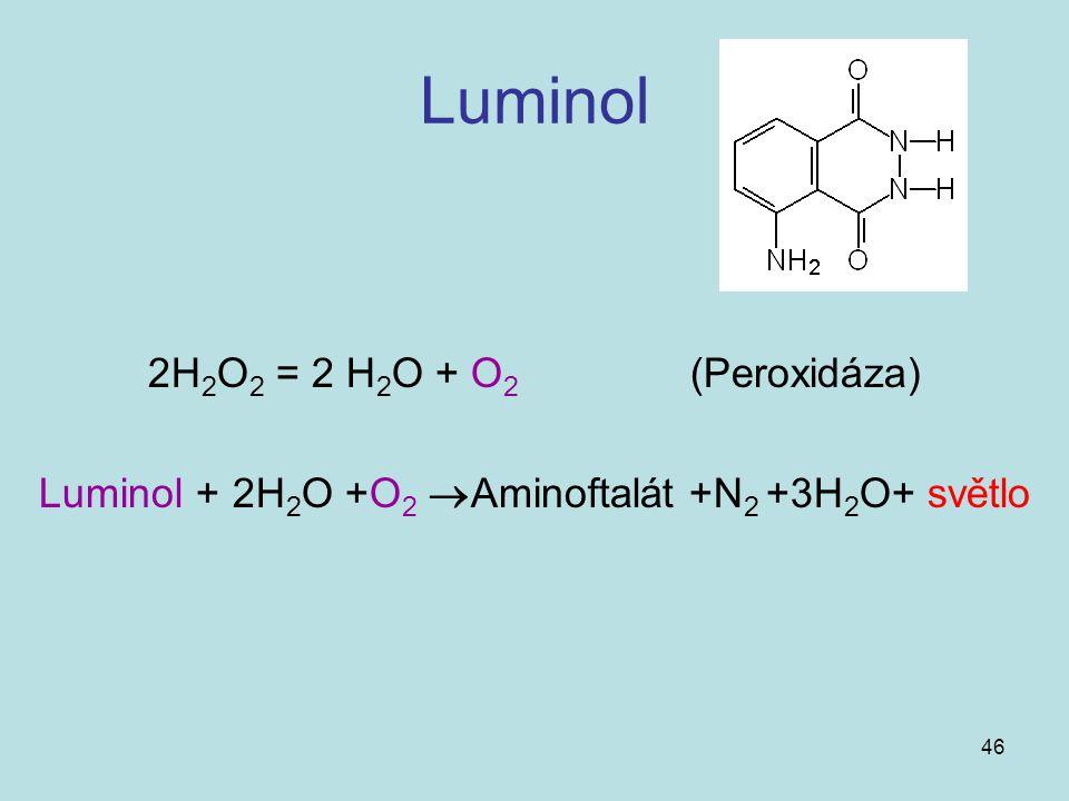 46 Luminol 2H 2 O 2 = 2 H 2 O + O 2 (Peroxidáza) Luminol + 2H 2 O +O 2  Aminoftalát +N 2 +3H 2 O+ světlo