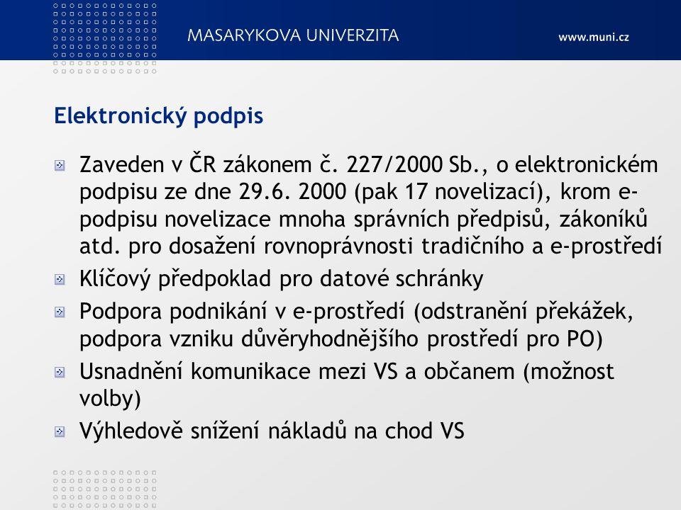Zaveden v ČR zákonem č. 227/2000 Sb., o elektronickém podpisu ze dne 29.6. 2000 (pak 17 novelizací), krom e- podpisu novelizace mnoha správních předpi
