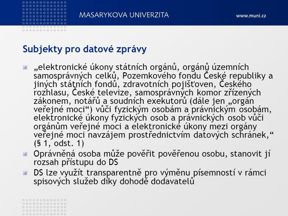 """Subjekty pro datové zprávy """"elektronické úkony státních orgánů, orgánů územních samosprávných celků, Pozemkového fondu České republiky a jiných státní"""