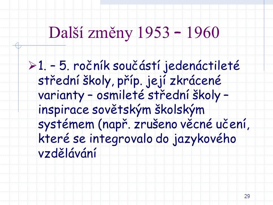 29 Další změny 1953 – 1960  1. – 5. ročník součástí jedenáctileté střední školy, příp. její zkrácené varianty – osmileté střední školy – inspirace so