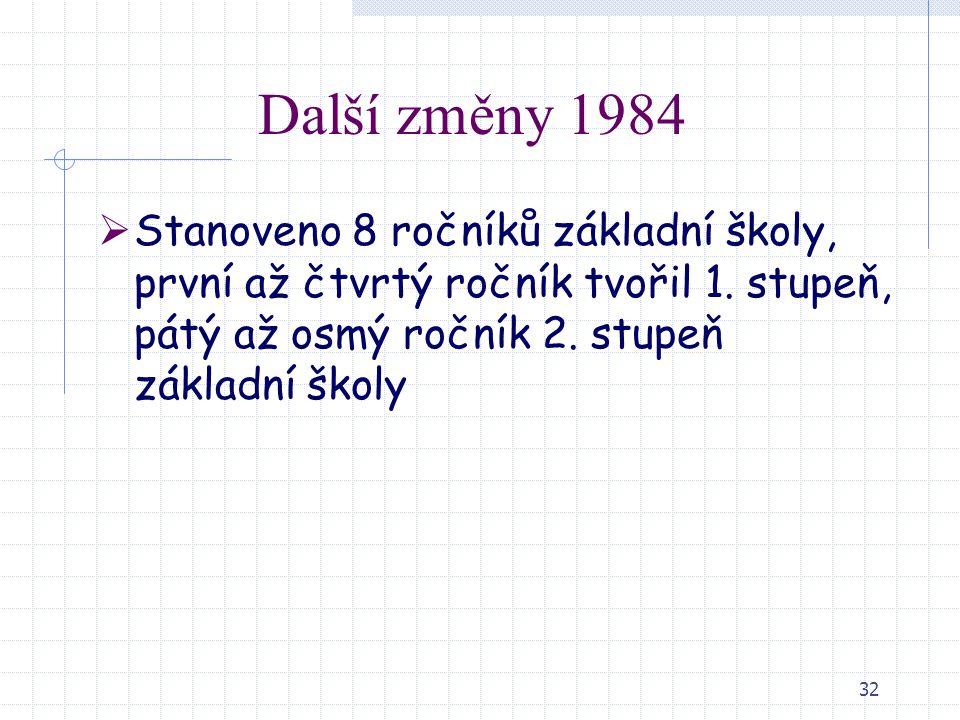 32 Další změny 1984  Stanoveno 8 ročníků základní školy, první až čtvrtý ročník tvořil 1. stupeň, pátý až osmý ročník 2. stupeň základní školy