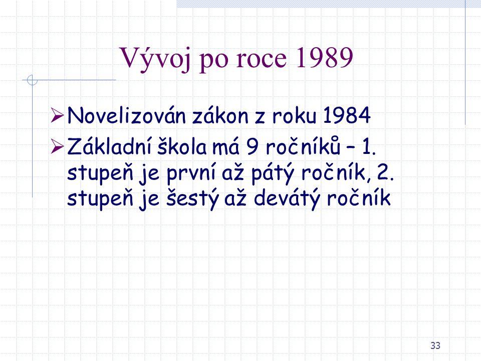 33 Vývoj po roce 1989  Novelizován zákon z roku 1984  Základní škola má 9 ročníků – 1. stupeň je první až pátý ročník, 2. stupeň je šestý až devátý