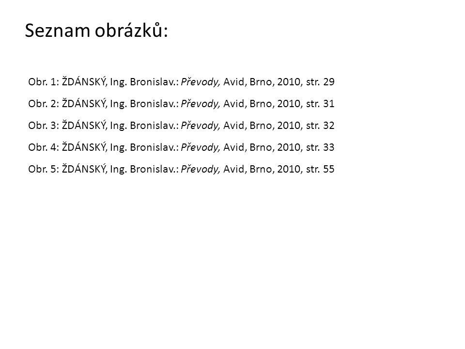 Seznam obrázků: Obr. 1: ŽDÁNSKÝ, Ing. Bronislav.: Převody, Avid, Brno, 2010, str. 29 Obr. 2: ŽDÁNSKÝ, Ing. Bronislav.: Převody, Avid, Brno, 2010, str.