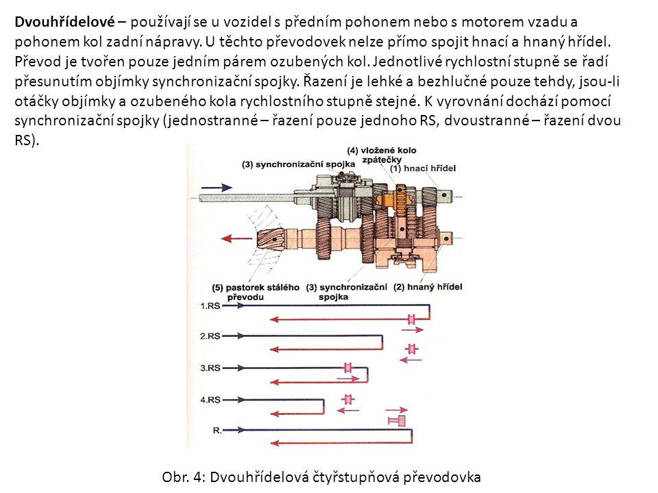 Dvouhřídelové – používají se u vozidel s předním pohonem nebo s motorem vzadu a pohonem kol zadní nápravy. U těchto převodovek nelze přímo spojit hnac
