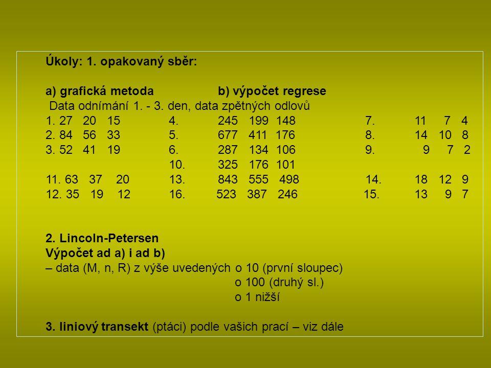 Úkoly: 1. opakovaný sběr: a) grafická metodab) výpočet regrese Data odnímání 1. - 3. den, data zpětných odlovů 1. 27 20 154.245 199 1487.11 7 4 2. 84